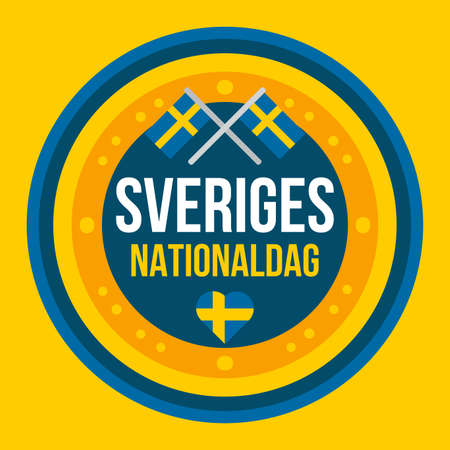 Independence day of Sweden. National holiday event. Sveriges national dag. Swedish country celebration decoration element for festive poster or banner. Vector illustration
