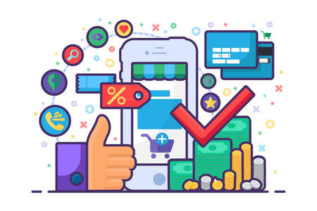 Successful Mobile Online Shopping Illustration