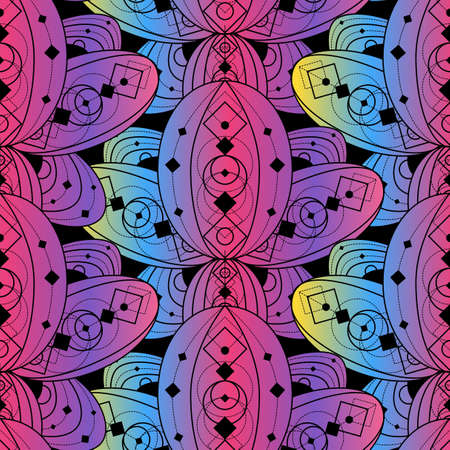 Colorful seamless pattern lotus flower outline