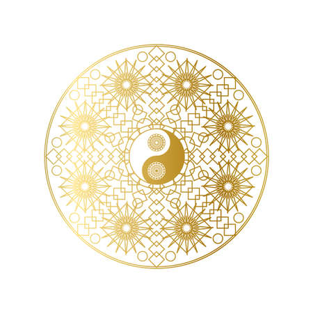 Shiny Golden Mandala with Yin Yang Sign Isolated