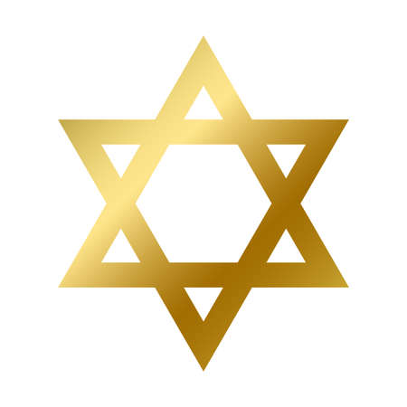 David star symbol isolated. Judaism religious golden sign outline on white background vector design illustration. Shiny jewish biblical star. Religion and belief concept