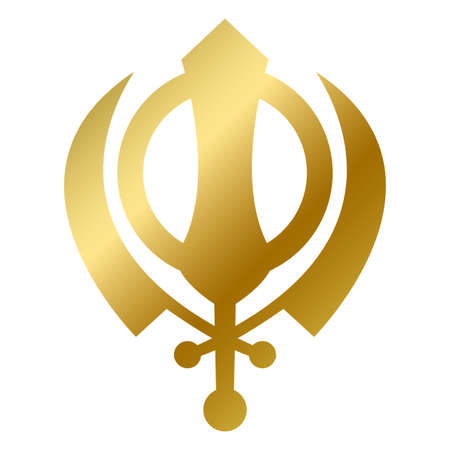 Sikhism faith symbol isolated. Sacred god religious golden sign swords outline on white background vector design illustration. Traditional religion and belief concept Illustration