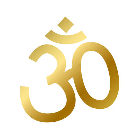 Hinduism faith symbol isolated. Hindu religious golden sign on white background vector design illustration. Shiny gold meditation and yoga aum sign. Religion and belief concept