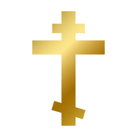 Orthodox cross symbol isolated. Christian religious golden sign on white background vector design illustration. Shiny christianity crucifix cross. Religion and faith concept