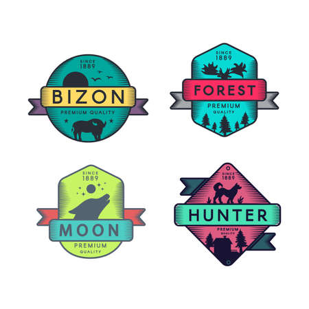 Bizon and Forest, Moon and Hunter Badges Set Logo. Colorful Assortment Trademark Premium Quality. Wolf and Dog, Buffalo and Deer Silhouettes on Design Logotype Template Vector Flat Illustrations