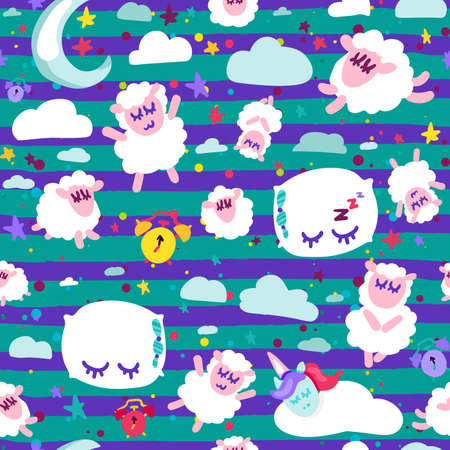 Night rest, bedtime vector seamless pattern. Wallpaper with cute sleeping animals cartoon design