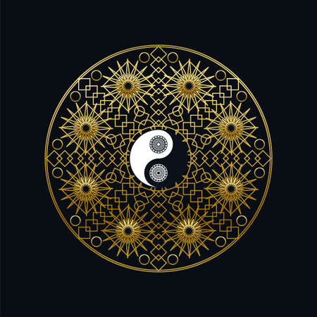 Meditation Icon Template with Golden Yin Yang Sign In Mandala Outline on Black Background Linear Vector Illustration. Traditional Oriental Symbol Design. Asian Culture and Balance Concept 일러스트