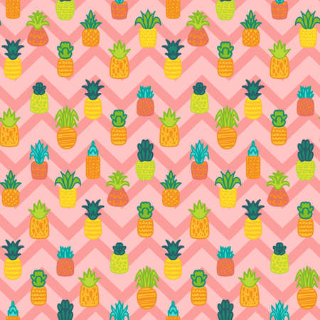 Whole pineapples seamless pattern. Summer juicy fruits, tropical wallpaper, textile design with zig zag background 스톡 콘텐츠 - 150674226