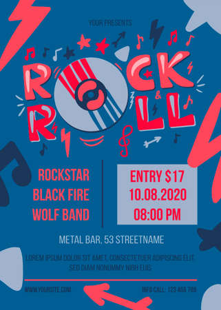 Rock and roll party poster template. Entertainment event web banner. Music concert brochure
