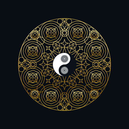 Meditation Icon Template with Golden Yin Yang Sign In Mandala Outline on Black Background Linear Illustration. 일러스트