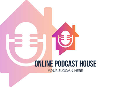 Online Podcast House design. Sound record service and radio icon. Online speech and broadcast icon. Audio recording studio symbol. Live talk show and streaming sign