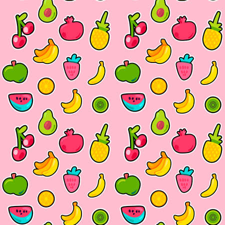 Fresh Berries Summer Fruits Mix Seamless Pattern. Bright Painted Pineapple, Orange Backdrop. Funny Cherries Kiwi and Avocado with Black Outline. Kid Print. Cartoon Flat Vector Illustration