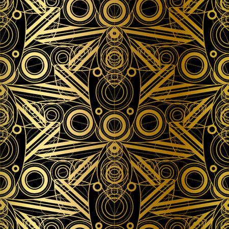 Golden Seamless Pattern Design With Gradient Geometric Ornament, Abstract Fashion Print on Black Background. Template Vector Decoration, Beautiful Luxury Vintage Style. 일러스트