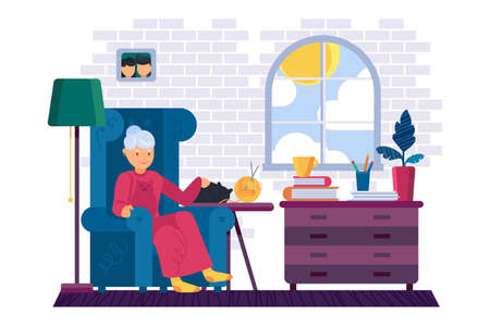 Resting Grandmother With A Cat At Home. Old woman is relaxing with books in room. Female granny character. Stay Home Illustration With Grandma.