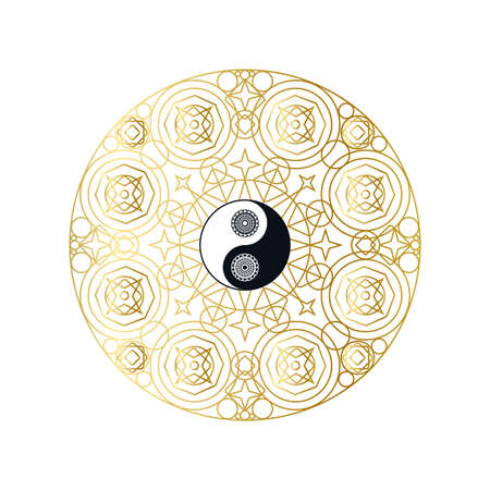 Shiny Golden Mandala with Yin Yang Sign, Isolated Template Vector Illustration for Yoga Meditation Center, Eastern Traditional Beauty Salon. Beautiful Sign for Spiritual Harmony Concept 스톡 콘텐츠 - 150877988