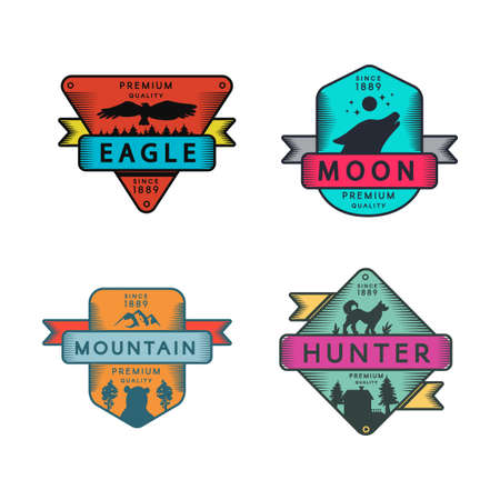 Eagle and Mountain, Moon and Hunter Badges Set Logo. Colorful Assortment Trademark Premium Quality. Wolf and Dog, Climb Hill and Bird Silhouettes on Design Logotype Template Vector Flat Illustrations