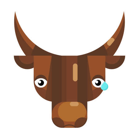 Upset bull face emoji, sad cow with tear icon isolated emotion sign. Cute animal head clip art, modern emoticon element. Crying depressed smiley face isolated. Flat vector illustration