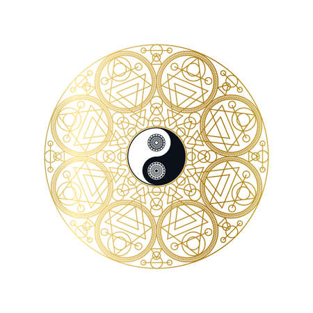 Shiny Golden Mandala with Yin Yang Sign, Isolated Template Vector Illustration for Yoga Meditation Center, Eastern Traditional Beauty Salon. Beautiful Sign for Spiritual Harmony Concept