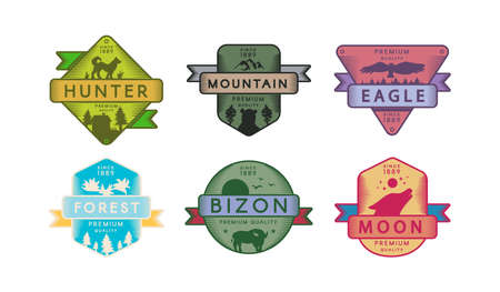 Collection Badges Animals and Nature Set  . Bright Colorful Trademarks Hunter and Mountain, Eagle and Forest, Bizon and Moon Multicolored Drawn  Template Vector Flat Illustrations 일러스트