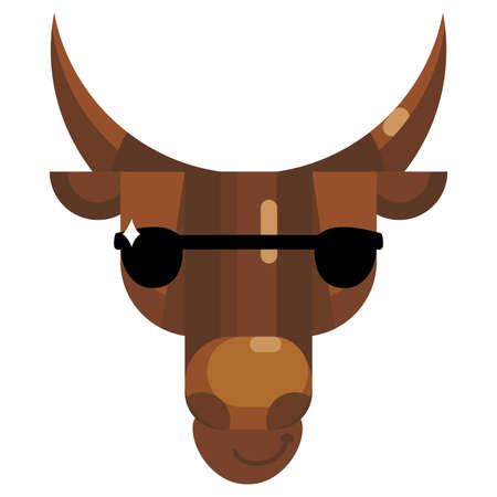 Cool bull face in sunglasses emoji, cow wear black sun glasses icon isolated emotion sign. Cute animal head clip art, modern emoticon element. Smiley face isolated. Flat vector illustration 일러스트