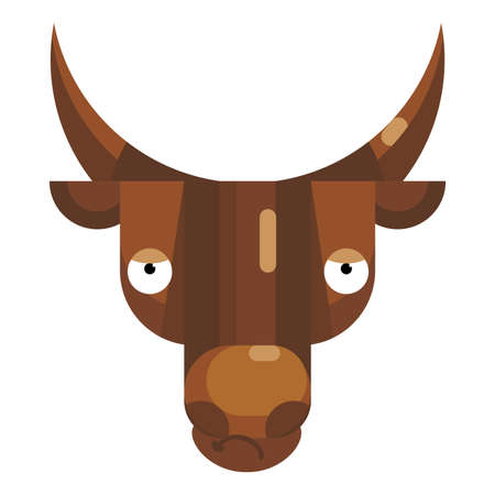 Tired bull face emoji, pensive cow icon isolated emotion sign. Cute animal head clip art, modern emoticon element. Depressed smiley face isolated. Flat vector illustration