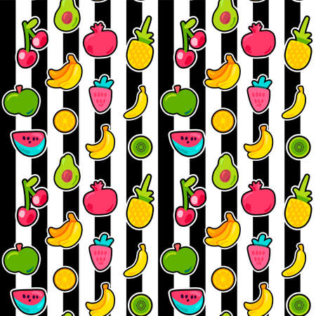 Exotic fruits on stripes seamless pattern. Summer fruit, cherry on black and white striped backdrop