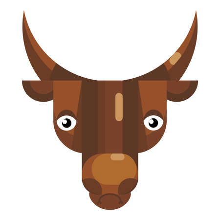 Stressed bull face emoji, upset cow icon isolated emotion sign. Cute animal head clip art, modern emoticon element. Discouraged smiley face isolated. Flat vector illustration Ilustracja
