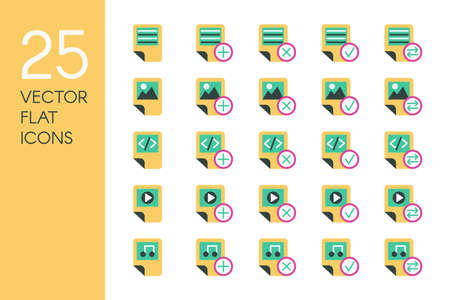 Documents and files flat vector icons set. Data storage, desktop items green and yellow pictograms