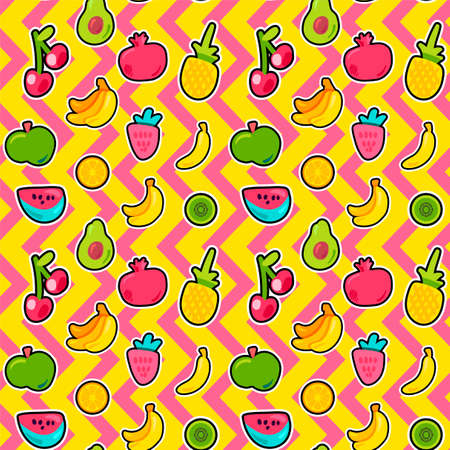Tropical fruits, berries vector seamless pattern. Outlined exotic sliced fruits wallpaper design