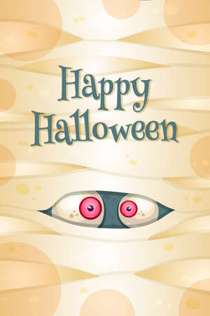 Happy Halloween greeting card vector template. Autumn holiday postcard. Spooky party celebration Zdjęcie Seryjne - 151984373