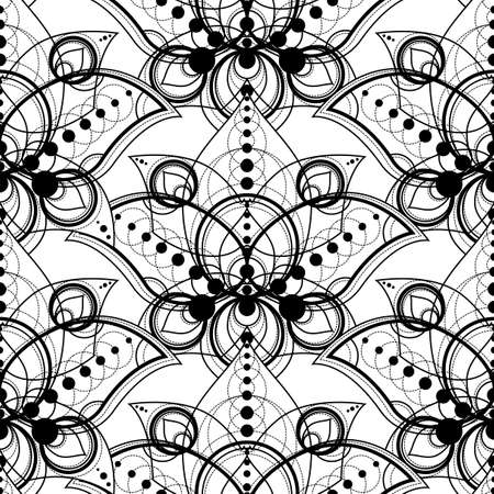 Decorative Pattern with Abstract Geometric Floral Ornament, Seamless Pattern. Creative Shapes on White Background. Modern texture elements
