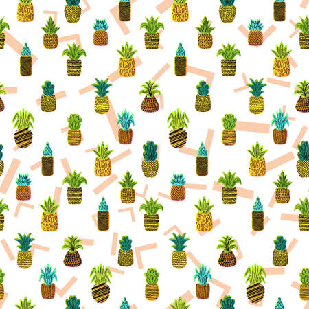 Whole pineapples vector seamless pattern. Summer juicy fruits, tropical wallpaper, textile design with memphis background