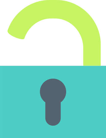 Open padlock flat vector icon. Openness, extraversion symbol.