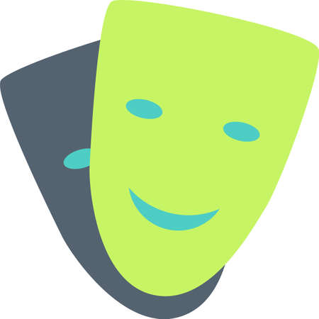 Tragedy and comedy mask flat vector icon