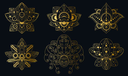 Lotus flower with geometric ornament linear illustrations set 일러스트
