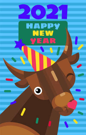 New year 2021 cute greeting card with cartoon bull