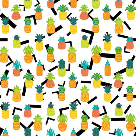 Whole pineapples vector seamless pattern