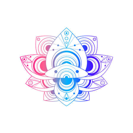 Lotus flower with geometric pattern vector linear illustration 일러스트