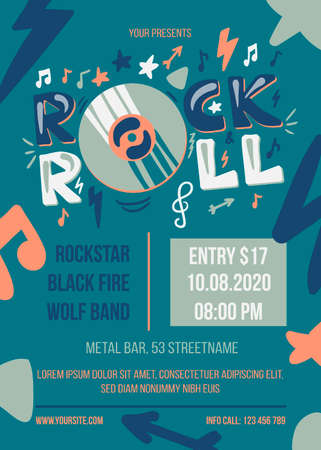 Rock and roll party vector poster template 일러스트