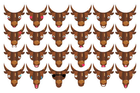 Emoji set, bull faces, happy smiling cows head signs isolated emotion 일러스트