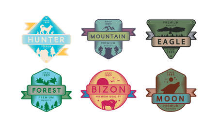 Collection Badges Animals and Nature Set Logo