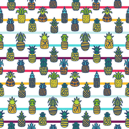 Summer fruits vector hand drawn seamless pattern