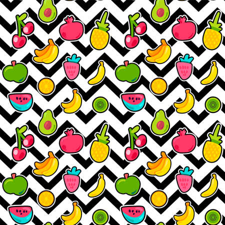 Painted Berries Summer Fruits Mix Seamless Pattern. 일러스트