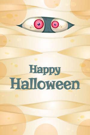 Happy Halloween greeting card vector template. Illustration