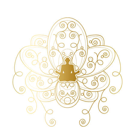 Yoga and Meditation Label Design, Female Silhouette in Golden Lotus Pose Template. Beauty Salon or Relaxation Spa Center Emblem or Branding Element Vector Illustration 일러스트