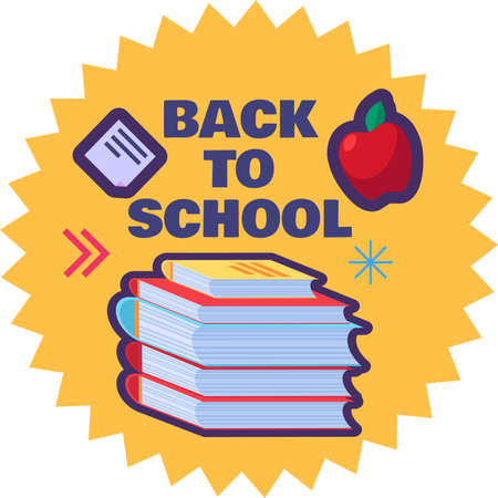 Back to school label with stack of books. Cute cartoon sticker for first of september and education concept. Template vector illustration isolated on white background