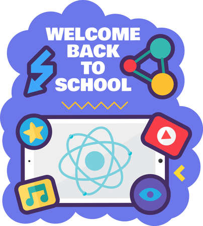 Welcome back to school sign for 1 september and education season beginning.