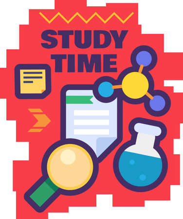 Study time sticker for back to school concept. Creative label template on white background.