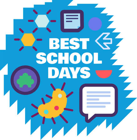 Best school days creative sticker isolated on white background. 일러스트