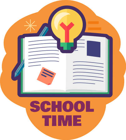 School time icon with open textbook. Creative back to school sticker or label. 일러스트